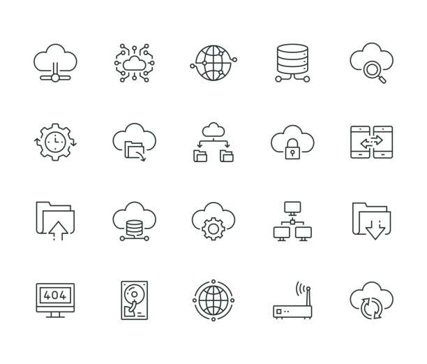 stockillustraties, clipart, cartoons en iconen met cloud data technologie lijn icon set - cloud computing