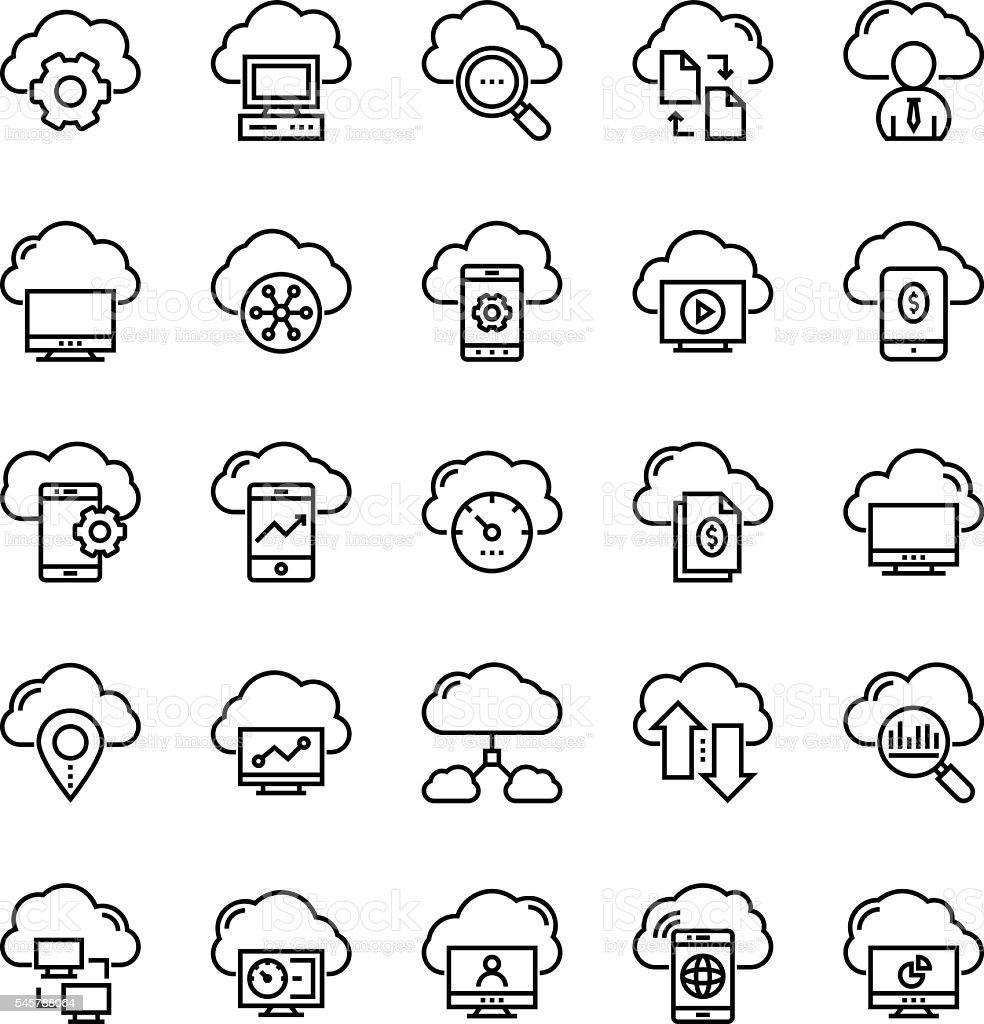 Cloud Data Technology Vector Icons 1 vector art illustration