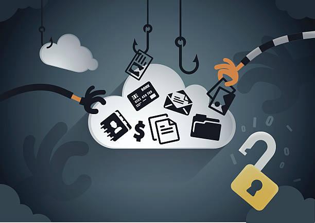 ilustraciones, imágenes clip art, dibujos animados e iconos de stock de robo nube de datos - robo de identidad