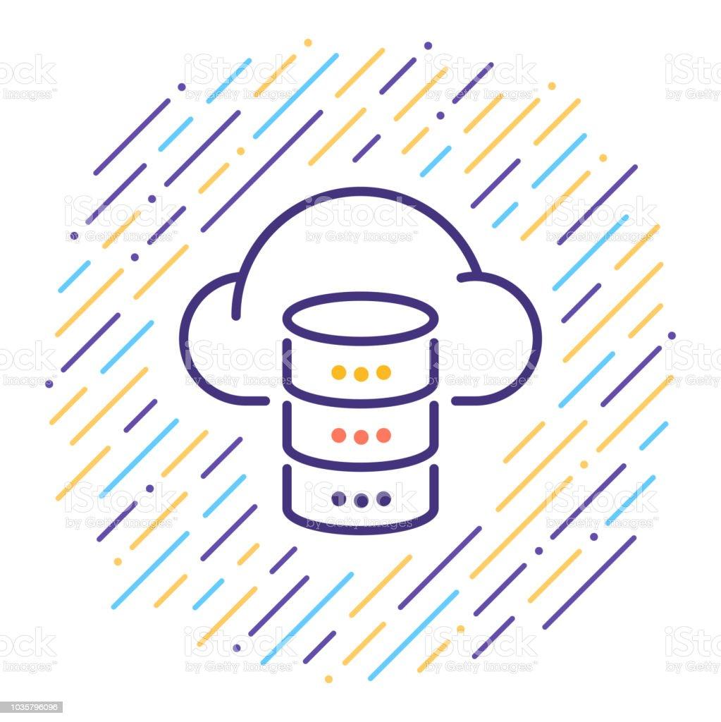 Cloud Database Line Icon Stock Illustration - Download Image