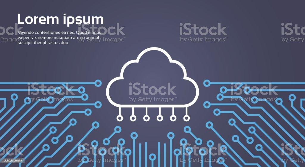 Cloud Database Over Computer Chip Moterboard Background Data Center System Concept Banner vector art illustration
