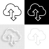 istock Cloud download and upload. Icon for design. Blank, white and black backgrounds - Line icon 1294466433