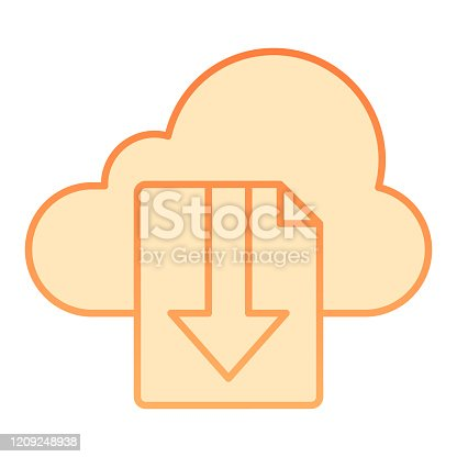 istock Cloud download file flat icon. File on cloud storage vector illustration isolated on white. Documents downloading gradient style design, designed for web and app. Eps 10. 1209248938