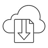 Cloud download file thin line icon. File on cloud storage vector illustration isolated on white. Documents downloading outline style design, designed for web and app. Eps 10