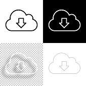 istock Cloud download. Icon for design. Blank, white and black backgrounds - Line icon 1297973954