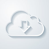 istock Cloud download. Icon with paper cut effect on blank background 1323335819