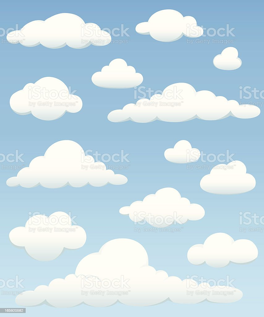 Cloud Element Set vector art illustration