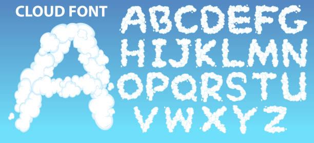 cloud english alphabet font - alphabet clipart stock illustrations