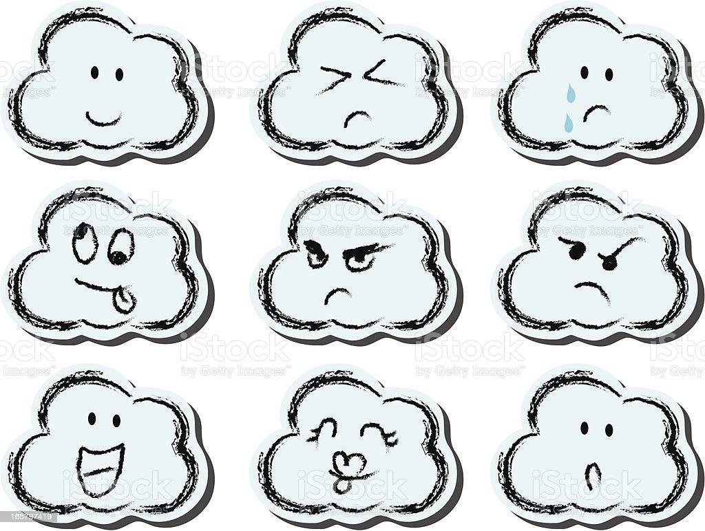 cloud face set vector art illustration
