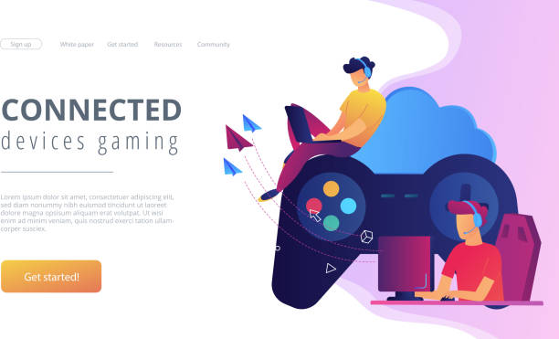 Cloud gaming concept vector illustration. Two gamers playing computer connected with joystick. Gaming on demand, video and file streaming, cloud technology, various devices gaming concept, violet palette. Website landing web page template. gambling stock illustrations
