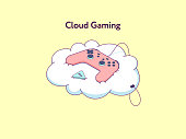 Cloud gaming platform that allows play by gamepad in video games across TV, desktop, laptop, tablet and phone. Online gaming service on demand, by subscription. Vector illustration
