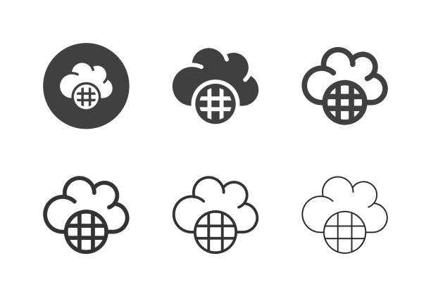 Cloud Global Data Icons - Multi Series vector art illustration