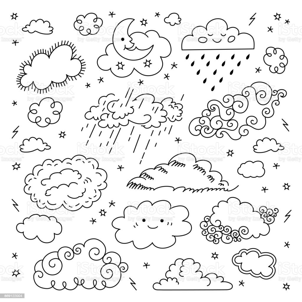 Cloud Hand Drawn Clouds Icons Set Childrens Sky And Weather