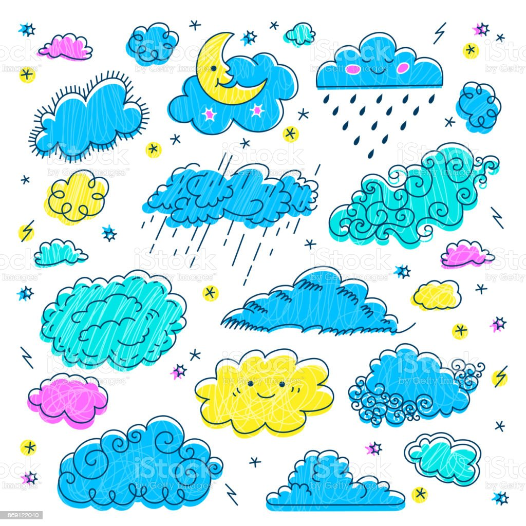 Cloud Hand Drawn Clouds Icons Set Childrens Sky And Weather Symbols