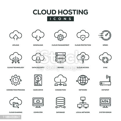 Cloud Hosting Line Icon Set