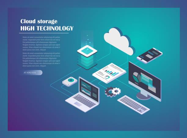 ilustraciones, imágenes clip art, dibujos animados e iconos de stock de concepto de red hosting cloud - informática en la nube
