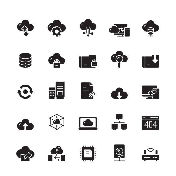 stockillustraties, clipart, cartoons en iconen met cloud hosting gerelateerde vector iconen - netwerkserver
