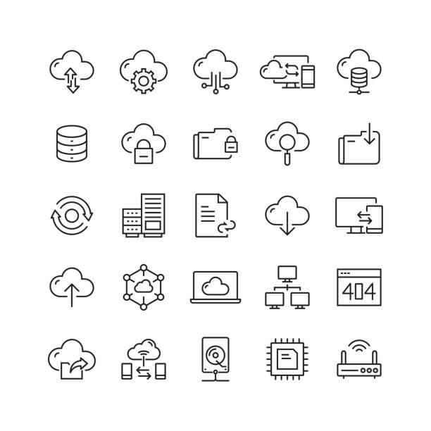 stockillustraties, clipart, cartoons en iconen met cloud hosting gerelateerde vector lijn iconen - netwerkserver