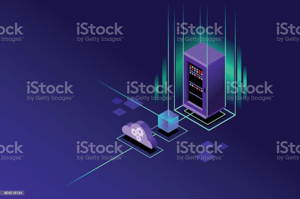 Cloud hosting upload to storage server vector art illustration