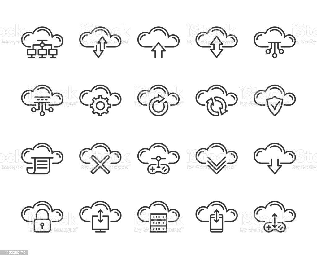 Cloud Icon Cloud Computing Technology Line Icons Set