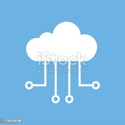 Cloud icon technology. Digital computer service concept. Service support. Web cloud technology business. EPS 10