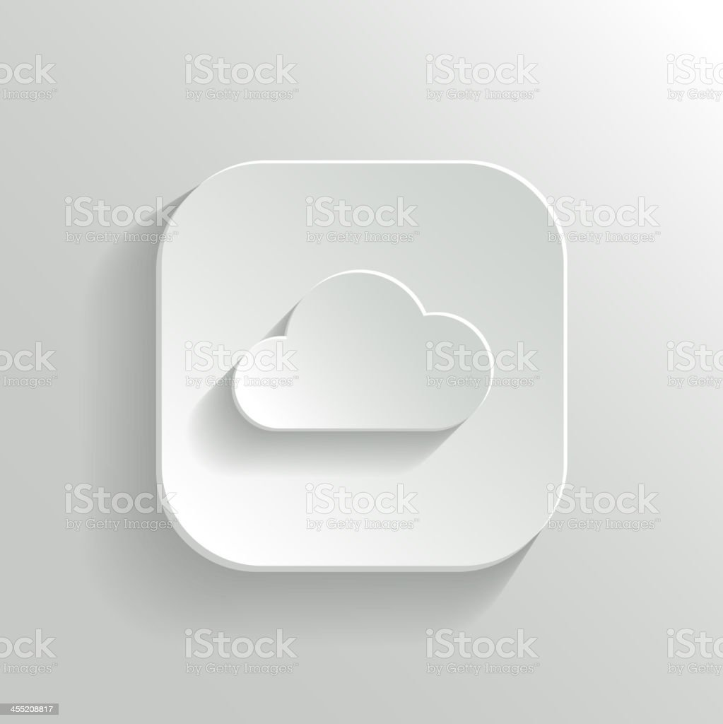 Cloud Icon Vector White App Button Stock Illustration