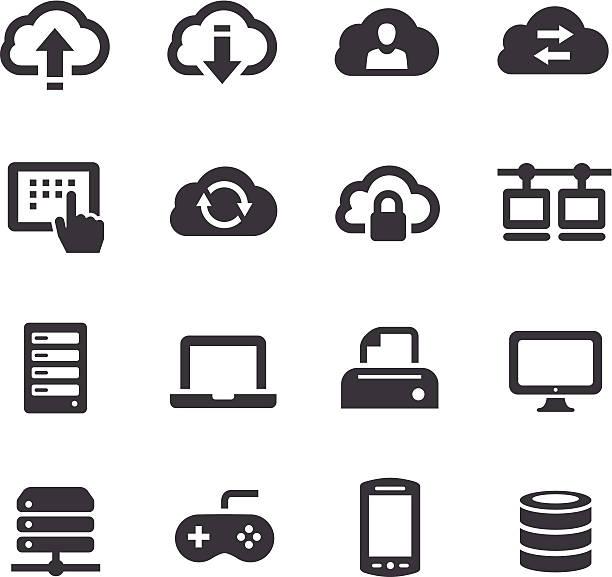 stockillustraties, clipart, cartoons en iconen met cloud icons - acme series - netwerkserver