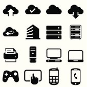Data cloud, computers and input devices. Professional icons for your print project or Web site. See more in this series.