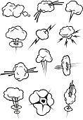 Cloud icons in cartoon comic book style. Isolated cumulus clouds outline in various shapes and forms of smoke puff, steam vapor, fume, explosion, thunderbolt