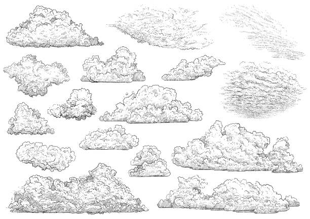 Cloud illustration, drawing, engraving, ink, line art, vector Illustration, what made by ink, then it was digitalized. etching stock illustrations