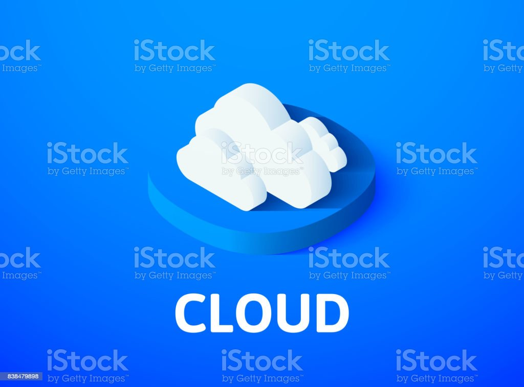 Cloud isometric icon, isolated on color background vector art illustration