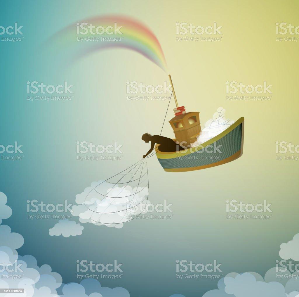 gardien du nuage, créant l'arc-en-ciel attraper le nuage, le navire magique dans le pays des rêves, la scène du pays des merveilles, - Illustration vectorielle