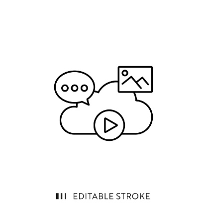 Cloud Library Line Icon with Editable Stroke and Pixel Perfect.