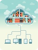 Cloud library concept. Vector  EPS 10 illustration (without transparencies).