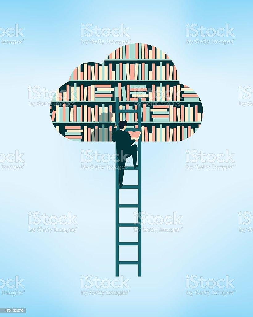 Cloud la biblioteca - ilustración de arte vectorial