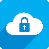 Vector illustration of a blue cloud with lock icon in flat style.