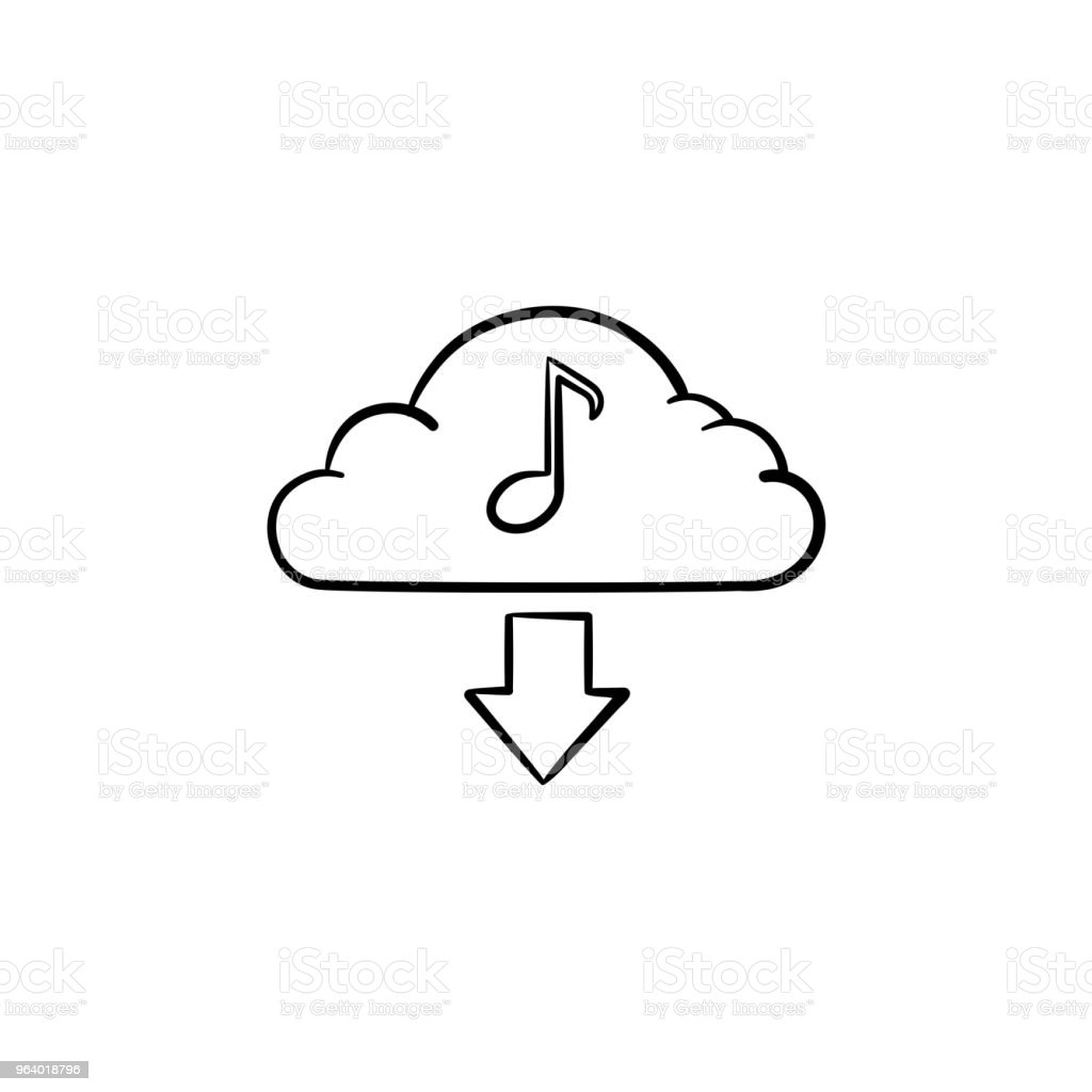 Cloud music concept hand drawn outline doodle icon - Royalty-free Arts Culture and Entertainment stock vector