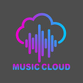 Cloud music vector logo isolated on white background, cloud shape symbol with sound equalizer colorful lines. EPS 10.