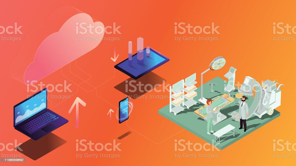 Cloud Computer and medical process concept. Data transfer between...