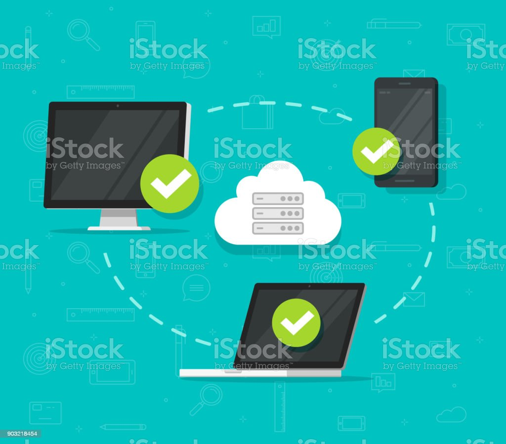 Cloud network connection between devices vector illustration, flat desktop  computer pc, laptop and smartphone