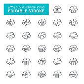 Cloud Storage, Cloud Computing, Data, Equipment, Editable Stroke Icon Set