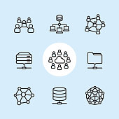 "Cloud Network / 9 Outline style Pixel Perfect icons / Set #30  CONTENT BY ROWS: 1 - Community icon, Network server icon, Social Network icon; 2 - Rack Server icon, Cloud Network icon, Network Folder icon; 3 - Neural network icon, Network Disk icon, Artificial Intelligence icon.   Pixel Perfect Principle - all the icons are designed in 64x64px grid, outline stroke 2px. Complete ""Outline 3x3 Blue"" collection - https://www.istockphoto.com/collaboration/boards/eKCvfOhp3E-XZOE0AIzWqg"