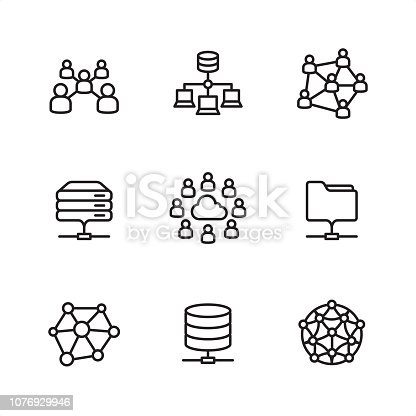 Cloud network theme related outline vector icon set #30  CONTENT BY ROWS: Community icon, Network server icon, Social Network icon; Rack Server icon, Cloud Network icon, Network Folder icon; Neural network icon, Network Disk icon, Artificial Intelligence icon.   Pixel Perfect Principle - all the icons are designed in 64x64 px grid, outline stroke 2 px.  Complete Outline 3x3 PRO collection - https://www.istockphoto.com/collaboration/boards/hyo8kGplAEWxASfzDWET0Q