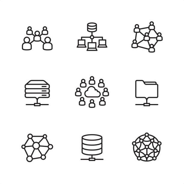 ilustrações, clipart, desenhos animados e ícones de rede de nuvem - ícones de contorno perfeito de pixel - social media