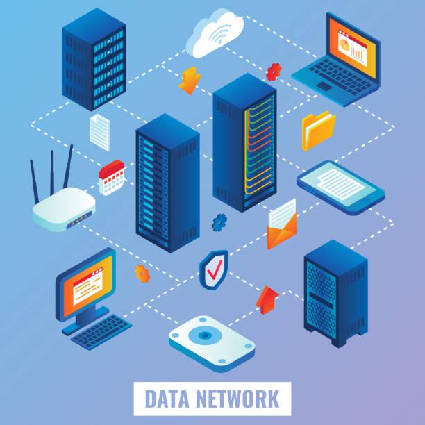 stockillustraties, clipart, cartoons en iconen met cloud netwerk plat isometrische illustratie vector - netwerkserver