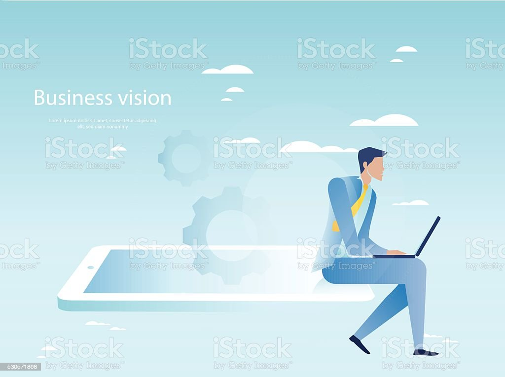 Cloud networking concept. Businessman working on laptop vector art illustration