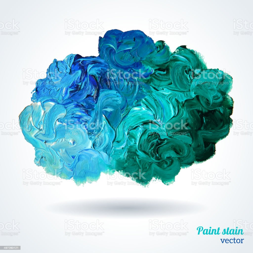Cloud of blue and green oil paints isolated on white. vector art illustration