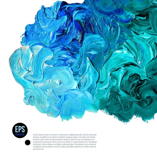 Nube de azul y verde aceite pinturas Aislado en blanco - ilustración de arte vectorial