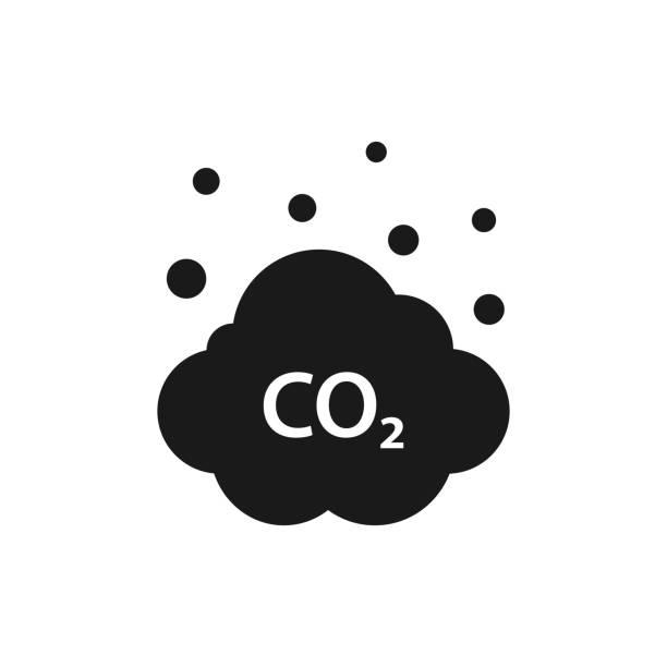 bildbanksillustrationer, clip art samt tecknat material och ikoner med moln av co2, koldioxidutsläpp, föroreningar minskning ikon. ekologi-miljö rengöring - co2