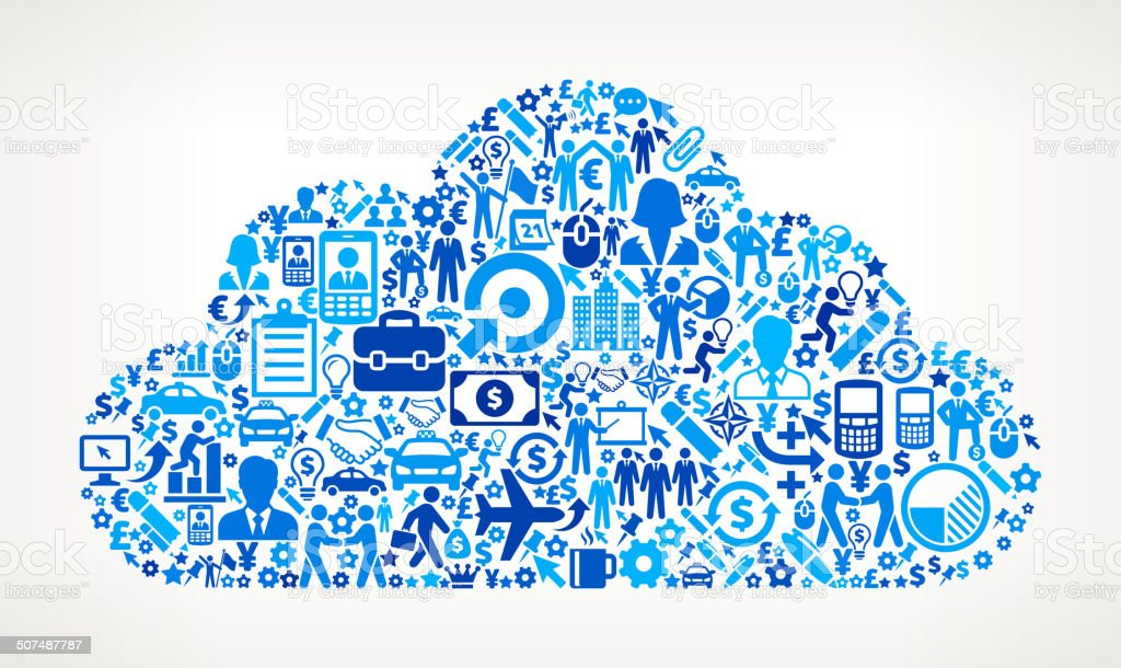 Cloud on Business Icon Pattern